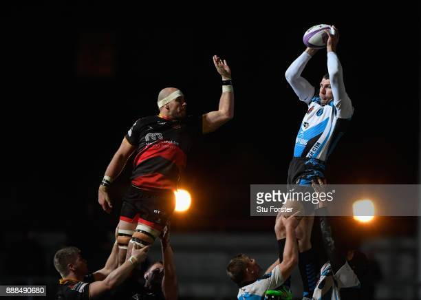 Enisei player Anton Rudoy wins a lineout ball during the European Rugby Challenge Cup match between Dragons and Enisei EM at Rodney Parade on...