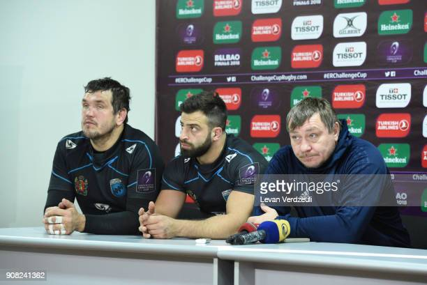 EniseiSTM at the press conference after the European Rugby Challenge Cup match between EniseiSTM and Newcastle Falcons at Avchala Stadium on January...