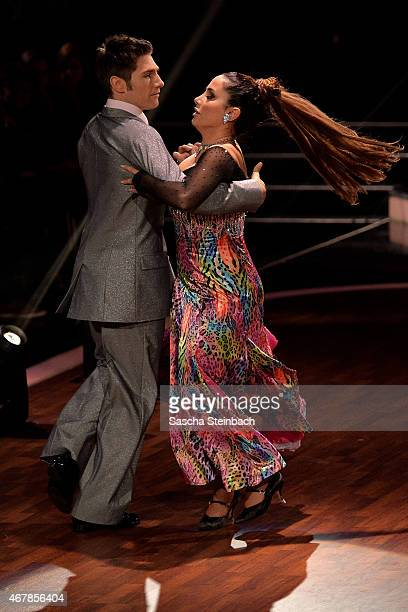 Enissa Amani and Chirstian Polanc perform on stage during the 3rd show of the television competition 'Let's Dance' on March 27, 2015 in Cologne,...