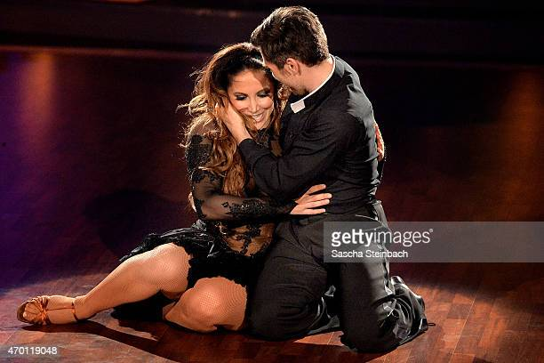 Enissa Amani and Chirstian Polanc perform on stage during the 5th show of the television competition 'Let's Dance' on April 17, 2015 in Cologne,...