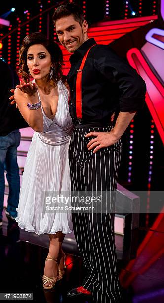 Enissa Amani and Christian Polanc react during the 7th show of the television competition 'Let's Dance' on May 1, 2015 in Cologne, Germany.