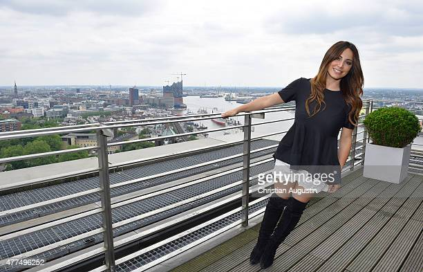 Enissa Amani attends the presentation of the dancing fitness concept at the Elbpanorama on June 17, 2015 in Hamburg, Germany.