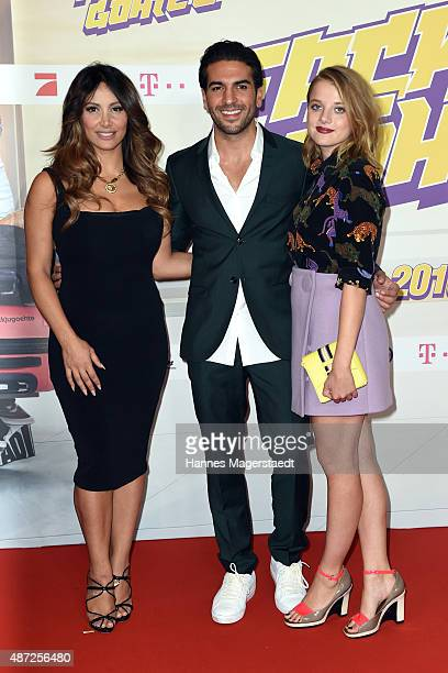 Enissa Amani Elyas M'Barek and Jella Haase attend the 'Fack ju Goehte 2' Munich Premiere at Mathaeser Filmpalast on September 7 2015 in Munich Germany
