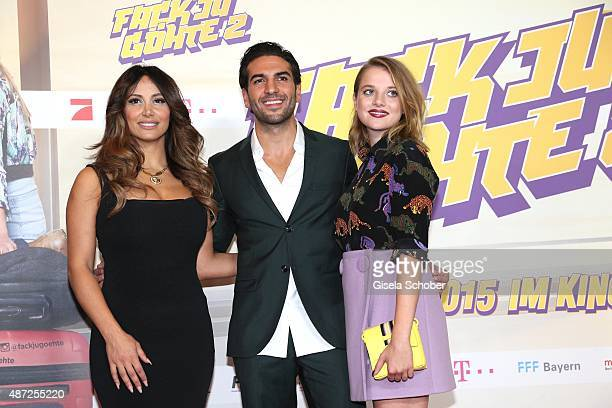 Enissa Amani Elyas M'Barek and Jella Haase during the world premiere of 'Fack ju Goehte 2' at Mathaeser Kino on September 7 2015 in Munich Germany