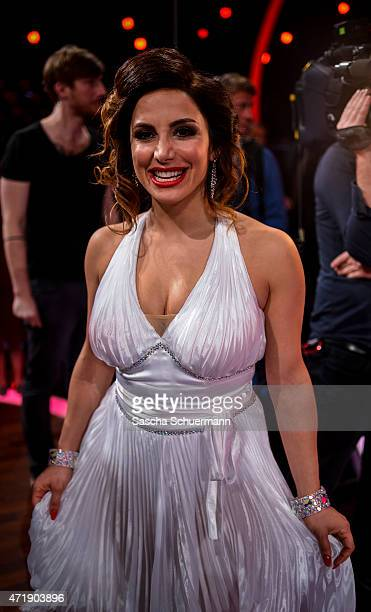 Enissa Amani react during the 7th show of the television competition 'Let's Dance' on May 1 2015 in Cologne Germany