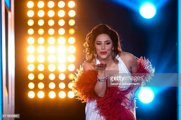 Enissa Amani reacts during the 7th show of the television competition 'Let's Dance' on May 1, 2015 in Cologne, Germany.
