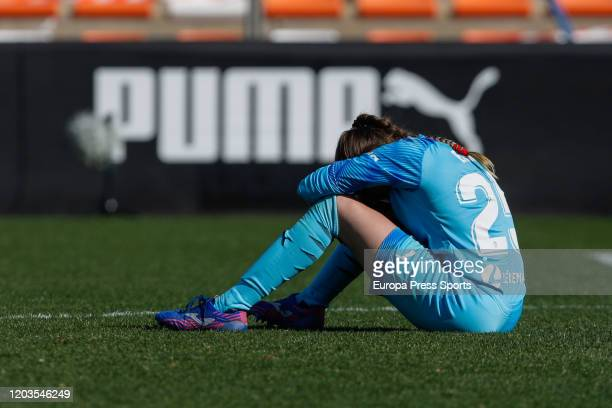 Enith Salon of Valencia CF laments during the Spanish League Primera Iberdrola women football match played between Valencia CF Femenino and Real...