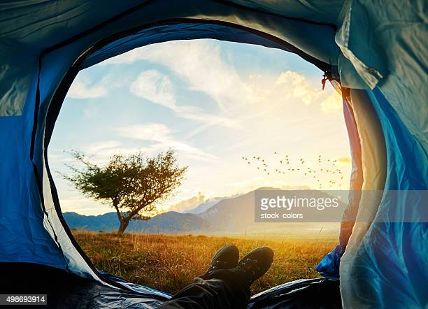 enjoy sunset in my tent
