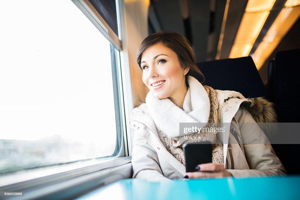 Enjoy the journey by train : Stock Photo
