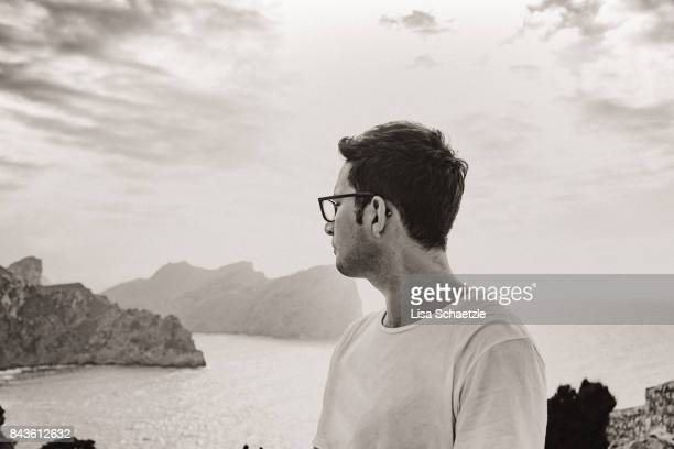 enjoy the view at cap de formentor, majorca, islands baleares - horn rimmed glasses stock pictures, royalty-free photos & images
