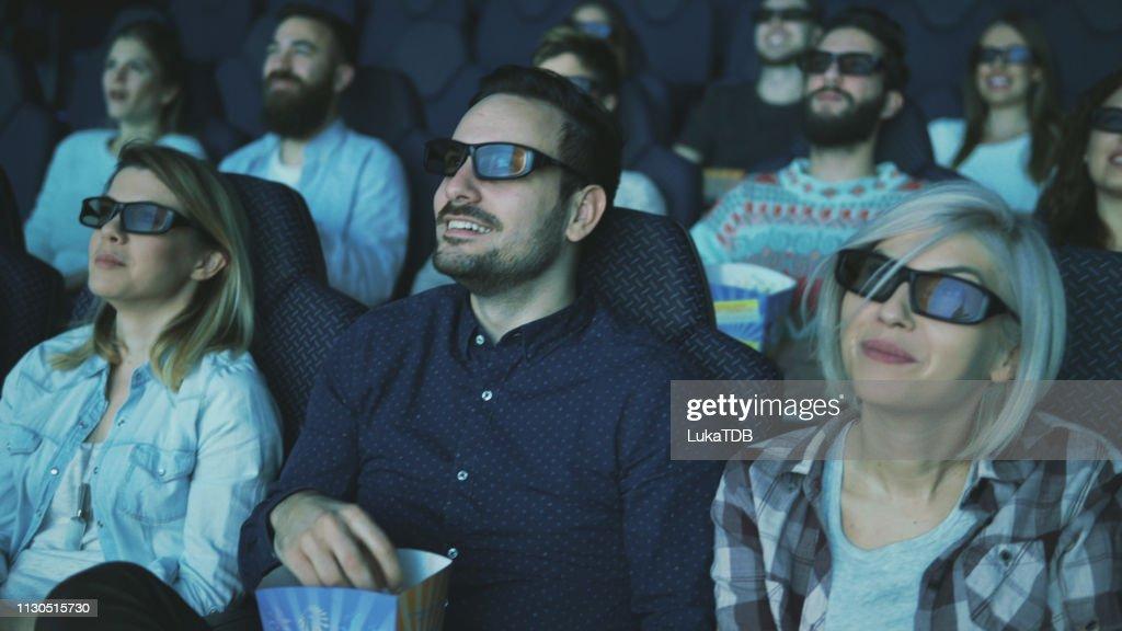 enjoying 3d movie premier : Stock Photo