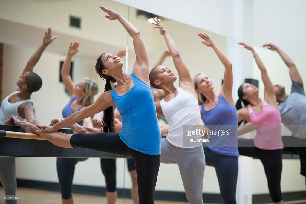 Enjoying a Barre Class at the Gym : Stock Photo