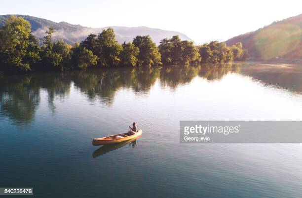 enjoying a beauty of nature - canoe stock pictures, royalty-free photos & images