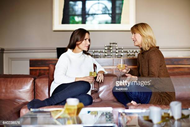 Enjoying a chat with Mom