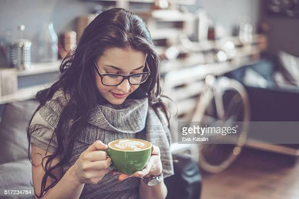 Enjoying a cup of coffee