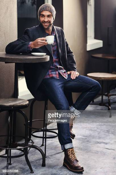 enjoying a cup of happy - men fashion stock photos and pictures