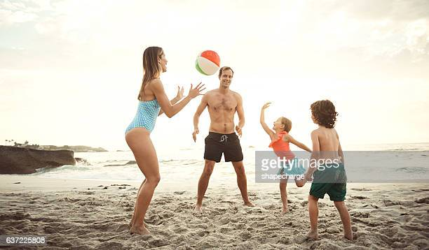 Enjoying a day of family fun at the beach
