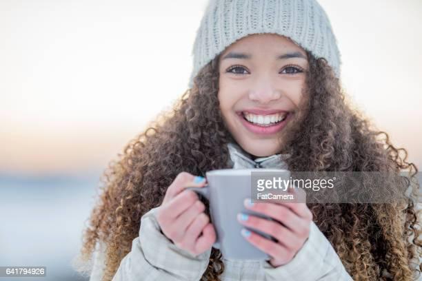 Enjoying a Hot Chocolate