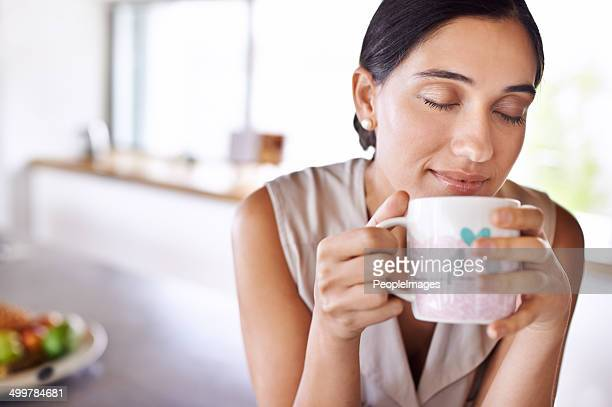 Enjoying a hot cup of coffee