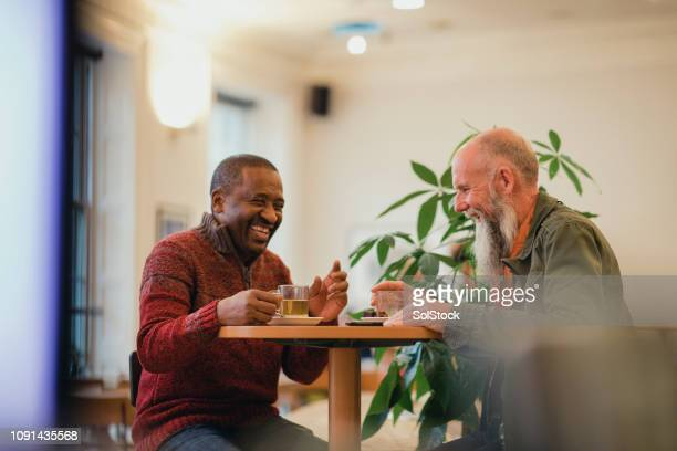 enjoying a hot drink - only men stock pictures, royalty-free photos & images