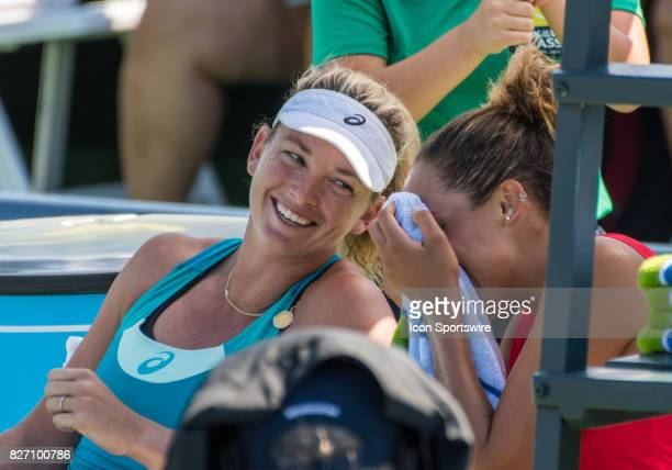 Enjoying a lighter moment before the awards during a WTA singles championship round at the Bank of the West Classic between at the Taube Family...