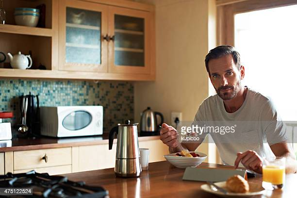 Enjoying a little social media with breakfast
