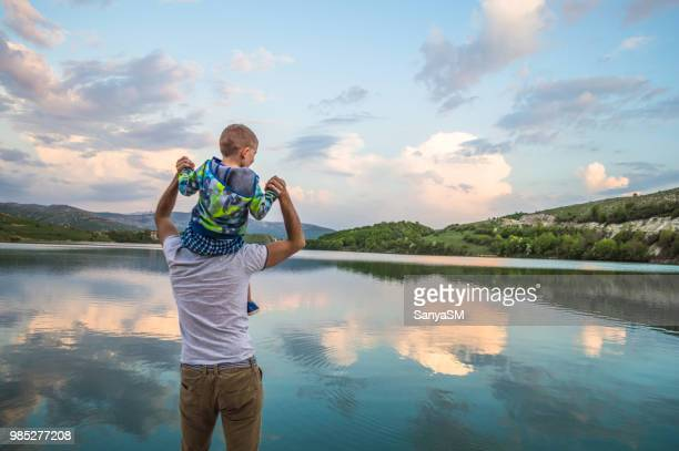 enjoying a nature - fathers day stock pictures, royalty-free photos & images