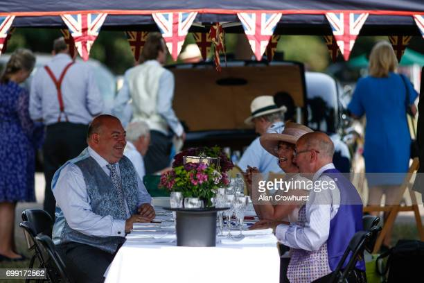 Enjoying a picnic in the car park on day 2 of Royal Ascot at Ascot Racecourse on June 21 2017 in Ascot England