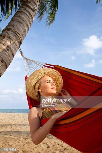 Enjoying a sunbath in a hammock