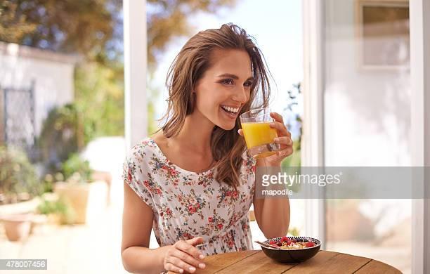 Enjoying a well-balanced breakfast