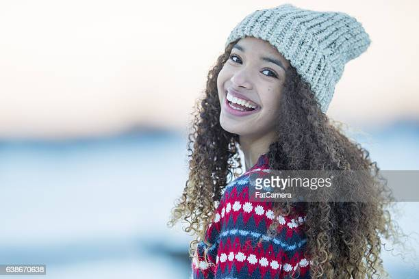 enjoying a winter day - beautiful black teen girl stock photos and pictures