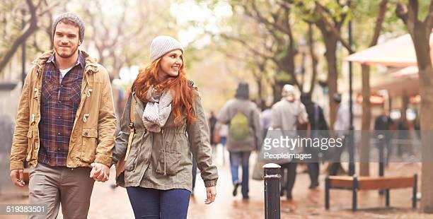 Enjoying an autumn walk together