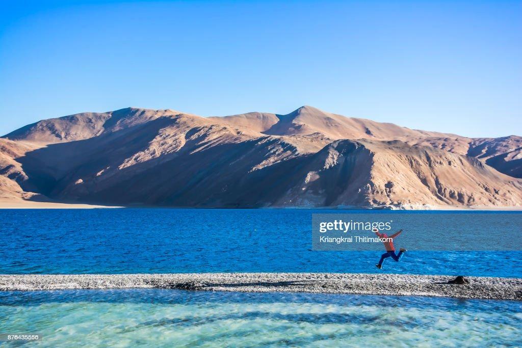 Enjoying at Pangong Lake, Ladakh, India. : Stock Photo