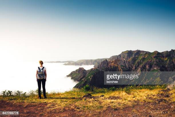 enjoying beautuiful outdoors on madeira island - madeira island stock photos and pictures