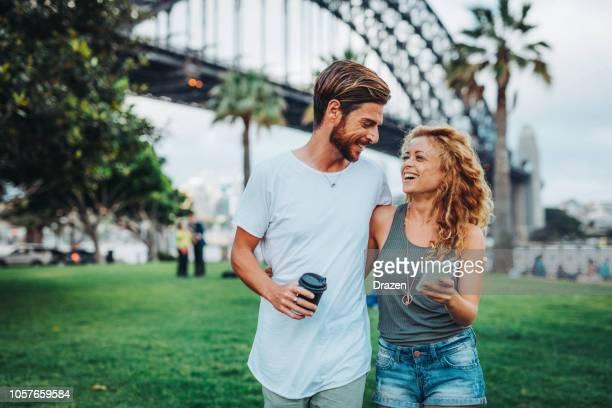 enjoying city break in sydney, australia - mid adult couple stock pictures, royalty-free photos & images
