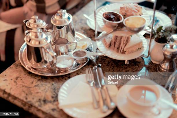 enjoying english breakfast in york - afternoon tea stock pictures, royalty-free photos & images