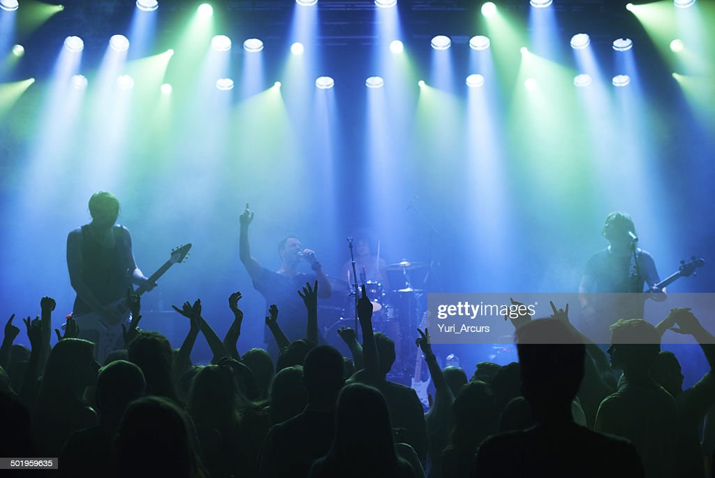 Enjoying every song the band plays : Stock Photo