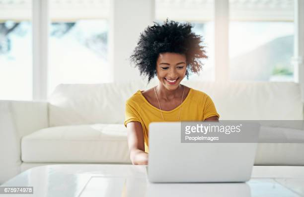 enjoying her off day - using computer stock photos and pictures