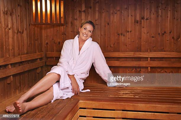 Enjoying her session with the sauna