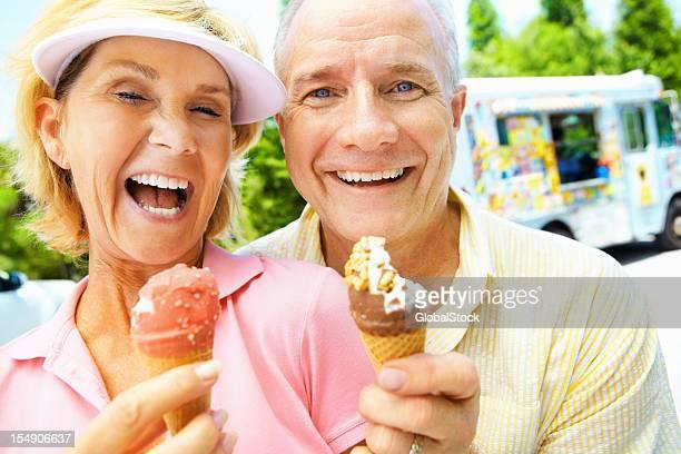 Enjoying ice cream cones