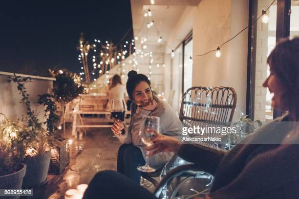 enjoying in good wine and great company - night in stock pictures, royalty-free photos & images