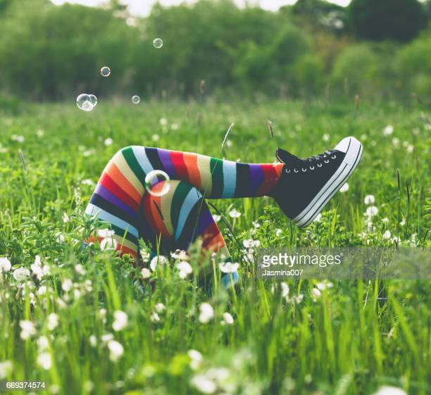 enjoying in springtime - lying down foto e immagini stock