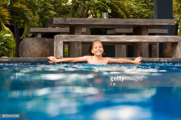 Enjoying in swimming pool