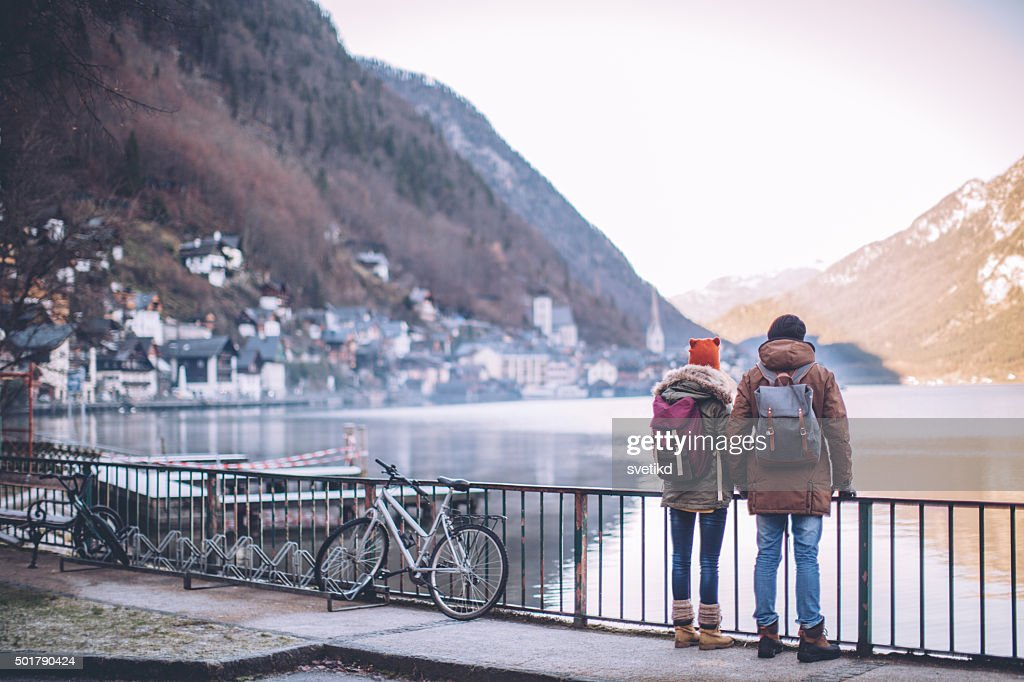 Enjoying in winter day on vacation : Stock Photo