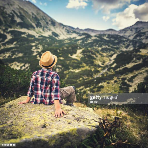 enjoying majestic mountains and landscape - pirin national park stock pictures, royalty-free photos & images