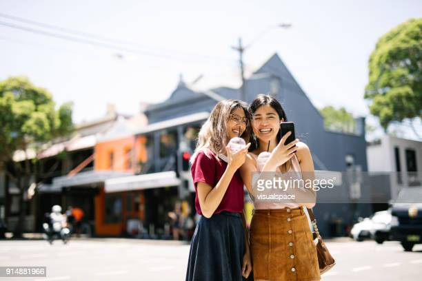 enjoying milk shake in surry hills, sydney - exploration stock pictures, royalty-free photos & images