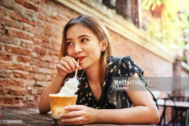 enjoying my drink and minding my own business - whipped food stock pictures, royalty-free photos & images