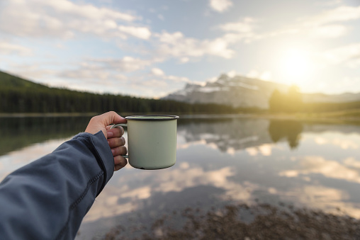 Enjoying nature with a hot coffee  or tea - gettyimageskorea