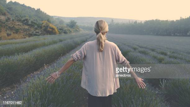 enjoying nature. woman in blooming lavender - emotion stock pictures, royalty-free photos & images