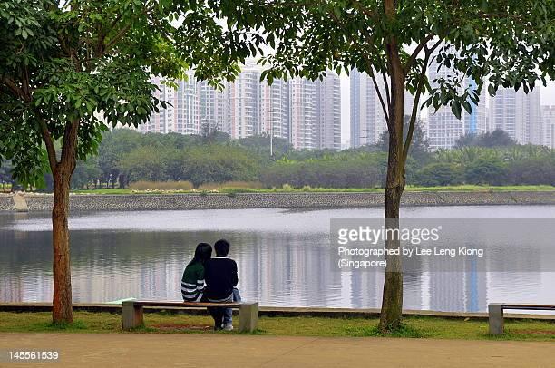 Enjoying peace at park at Hainan, China